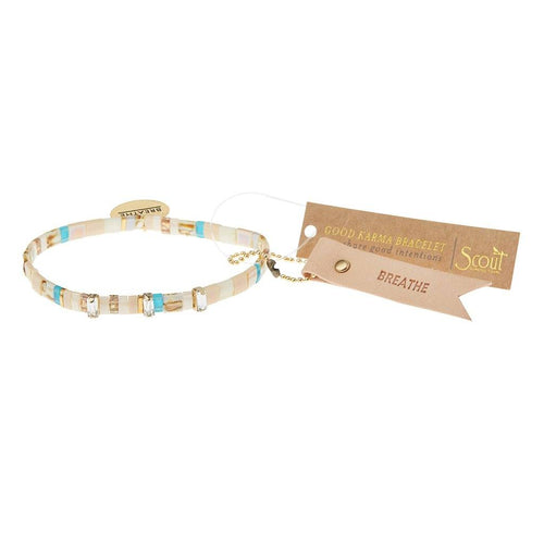 Scout Curated Wears Good Karma Miyuki Charm Bracelet - Breathe - Ivory Sparkle & Gold
