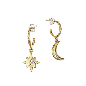 Waxing Poetic Edenic Celestial Moon and Star Huggie Hoop Earrings