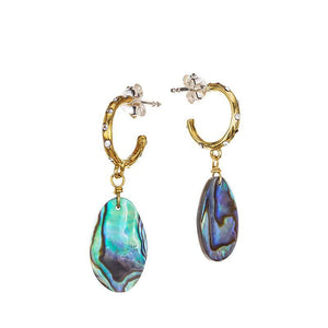 Waxing Poetic Edenic Natural Abalone Huggie Hoop Earrings