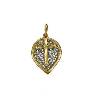Waxing Poetic Lotus Cross Kristal Pendant