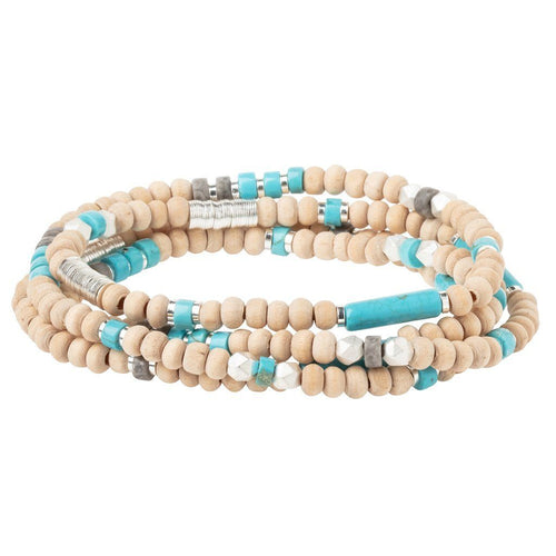 Scout Curated Wears Wood Stone & Metal Wrap - Turquoise/Silver (4384872595499)