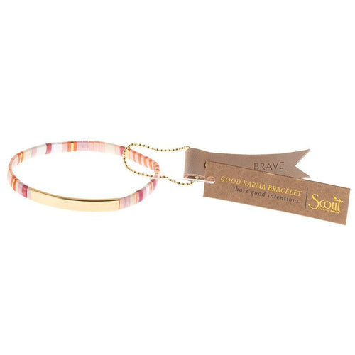 Scout Curated Wears Good Karma Miyuki Bracelet | Brave - Pink Multi / Gold (4384894222379)