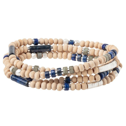 Scout Curated Wears Wood Stone & Metal Wrap - Lapis / Silver (4384887603243)
