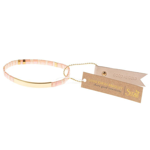 Scout Curated Wears Good Karma Miyuki Bracelet | Good As Gold - Blush / Gold (4384899170347)