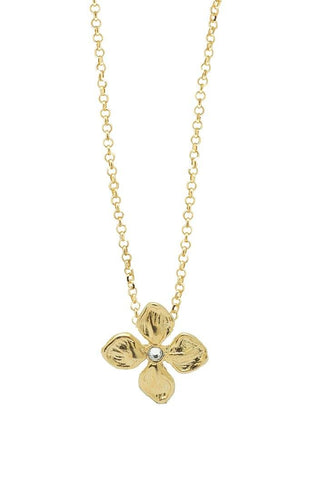 Waxing Poetic Good Verbs Blossoming Necklace Gold (4381125771307)