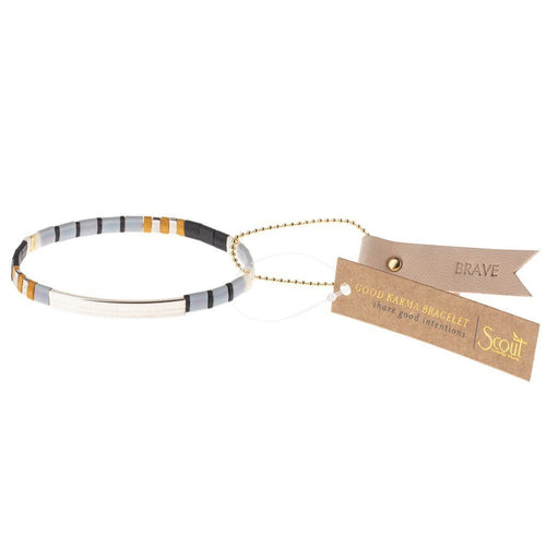 Scout Curated Wears Good Karma Miyuki Bracelet | Brave - Gray / Black / Silver (4384895041579)
