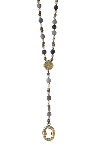 Waxing Poetic Evolution Y Necklace - Labradorite & Moonstone (4357547589675)