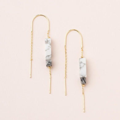 Scout Rectangle Stone Earring Howlite / Black / Gold