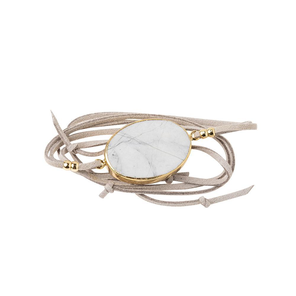 Scout Curated Wears Suede Stone Wrap - Howlite / Gold / Stone of Harmony (1764372316203)