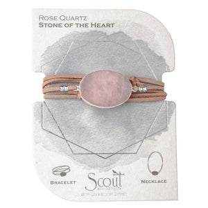 Scout Curated Wears Suede Stone Wrap Rose Quartz / Silver / Stone of the Heart (1764371890219)
