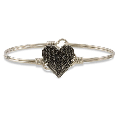 Angel Wing Heart Bangle Bracelet