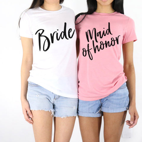Bride and Maid of Honor Shirts