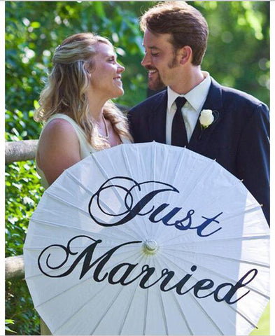 Just Married White Paper Parasol