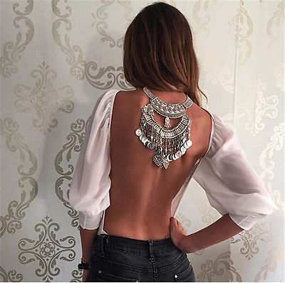 Sexy Summer Open-Back Chiffon Blouse