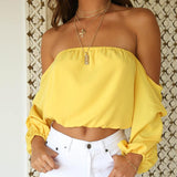 Elegant Chiffon Off-Shoulder Cropped Blouse