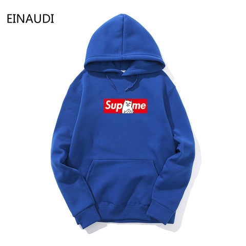 EINAUDI Winter Autumn Hip Hop Hoodies and Sweatshirts Suprem Letter Printed Hoodies Men Pullover Outerwear Brand Clothing Hooded
