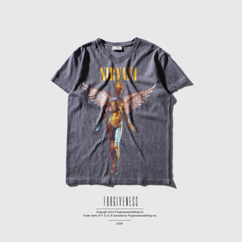FORGIVENESS 2017 summer new  men album cover men short sleeve cotton T shirt nirvana
