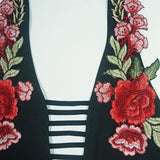 Rose Embroidery Halter Jumpsuit