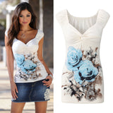 Summer Floral Bodycon Blouse