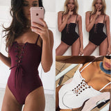 Sexy Lace-Up One-Piece Swimsuit/Bodysuit