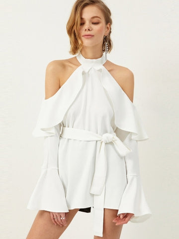 Off-The-Shoulder Flouncy Romper