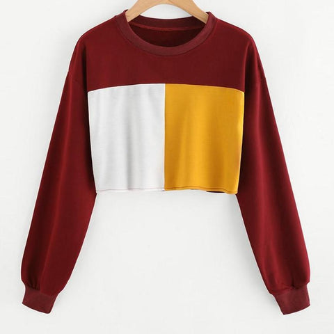 Tri-color Patchwork Crop Sweater