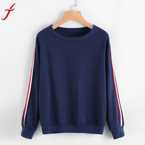 Feitong Fashion High Quality Blouse Women's Casual Long Sleeve Stripe Tops O-Neck Pullover Blusas female Tops
