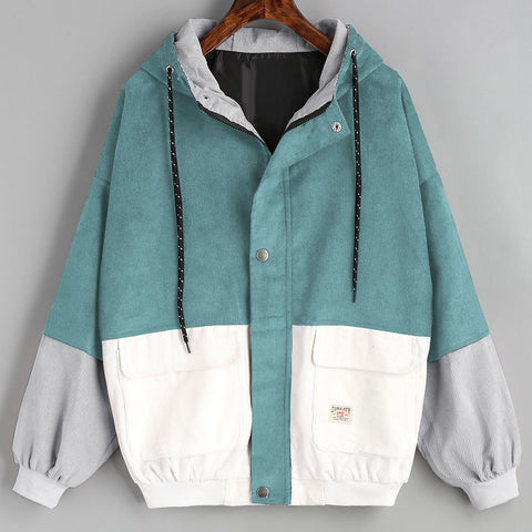 Long Sleeve Corduroy Patchwork Oversize Windbreaker