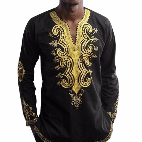 Elegant Gold/Black African Dashiki