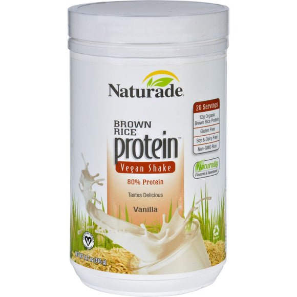 Naturade Protein Shake Brown Rice Vegan Gluten Free Vanilla 14.7 oz