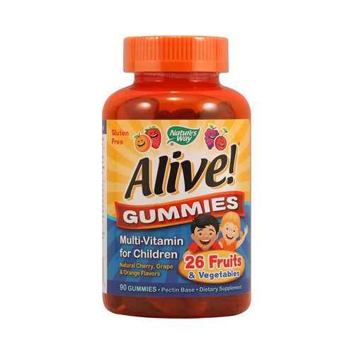 Nature's Way Alive! Gummies Multi-Vitamin for Children Natural Cherry, Grape and Orange (90 Gummies)