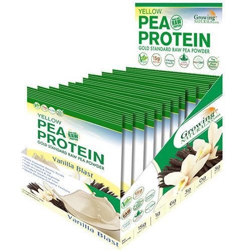 Growing Naturals Pea Protein Powder Vanilla Blast S-Serve Packet .9 Oz (12 Pack)