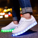 Women LED Shoes Light Up Casual Shoes Men Led Luminous Sneakers Shoes for Adults Glow Basket USB Rechargeable 35-44 Unisex