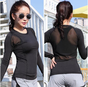 2016 Newest Women Sport Yoga Shirt Running Training Mesh Patchwork Undershirt Femme Sexy Gym Jogging Tops Camisetas mujer