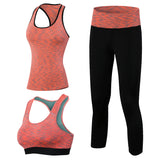 3pcs Fitness Yoga Set Tracksuit for Women Sleeveless Sport Shirt Gym Bra Tops Yoga Trousers Girl Sport Suit Gym Bra Pants 2016