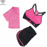 B.BANG 2017 Women Sport Yoga Set for Running Gym Sportswear Suit for Female Elastic Waist Yoga Suits Fitness Workout Clothing