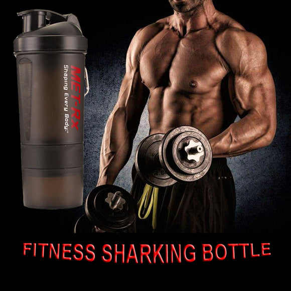 2017 Hot New Protein Powder Shaker Bottle Fitness Mixer Bottle Sports Fitness gym 3 Layers special whey protein shaker  BPA-Free