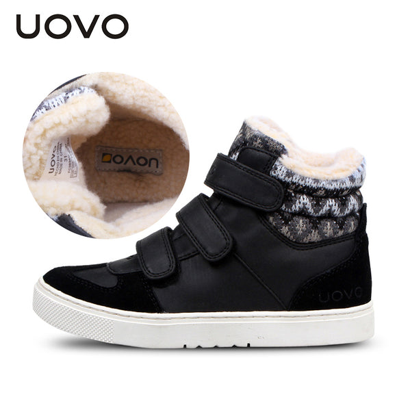 UOVO Winter Children Shoes Warm Faux Fur Boys Shoes Girls Shoes Mid-Cut Footwear for Kids