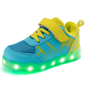 Eur25-37 // USB charging led children shoes kids with light up luminous glowing shoes for boys&girls sneakers