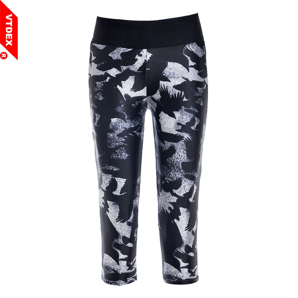 VTDEX Fitness Pants Capri Women Sexy American Apparel Running GYM Leggings Punk Style Eagle Printed Thin Cropped Yoga Tights