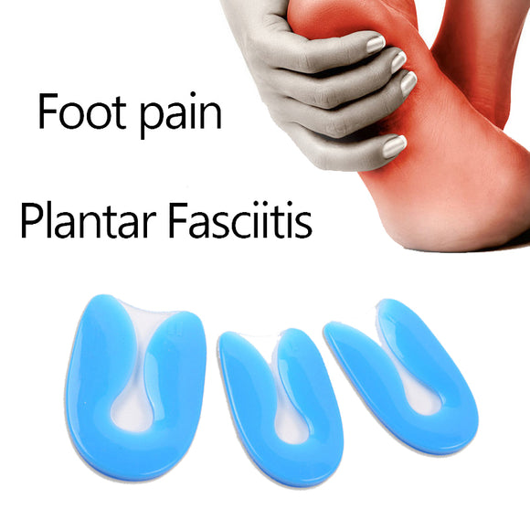 100%  Silicone Gel U-Shape  Heel Cup Plantar Fasciitis Heel Protector Heel Spur Cushion Pad Shoe Inserts Insole for Men Women