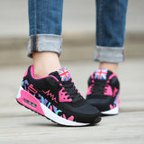 Plus Size Womens Summer Outdoor Sport Light Running Flats Lace Up Mesh Breathable Platform Sneakers Damping Anti Collision Shoes