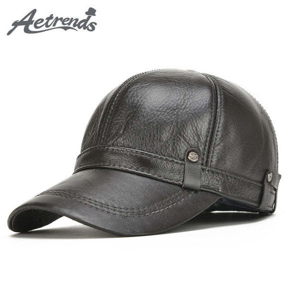 [AETRENDS] 2017 New Winter Men's 100% Leather Baseball Cap Men Warm Hats with Ears Flap Z-5304