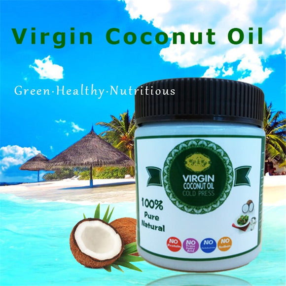 295ml 10oz Free shipping virgin coconut oil cold press edible cooking oil food grade pure extract base carrier oil for skin