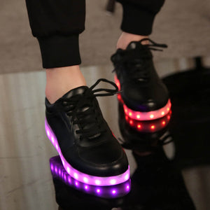 // USB illuminated krasovki luminous sneakers glowing kids shoes children with sole led light up sneakers for girls&boys