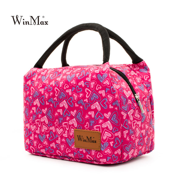 Winmax Fashion printing Insulated lunch Bag Thermal Food fresh Lunch Bag Portable for Women kids Cooler Lunch Box Tote quality