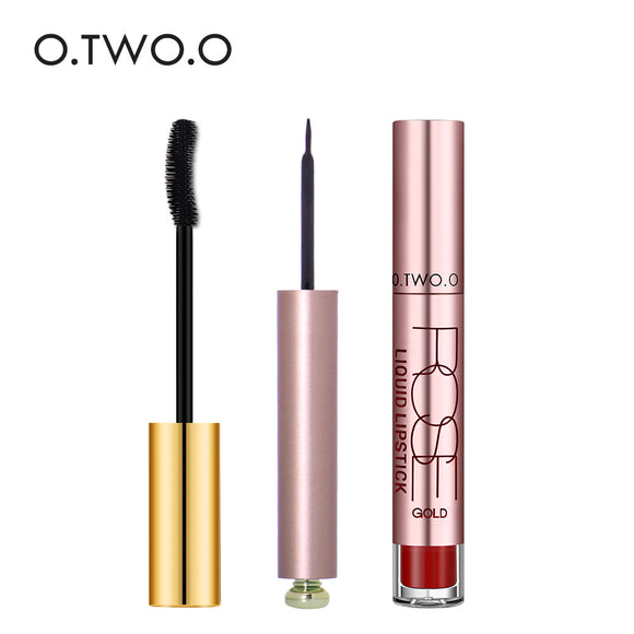 O.TWO.O 3pcs/set Make Up Set Long-lasting Waterproof Liquid Eyeliner +Eye Mascara +Matte Lip Gross For Dayly use