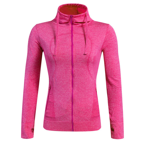 Gym Fitness Yoga Top Long Sleeve Hooded Hoodies Sweatshirts Sport Shirt Running Jacket Tracksuit Sportswear Women Sport Jerseys