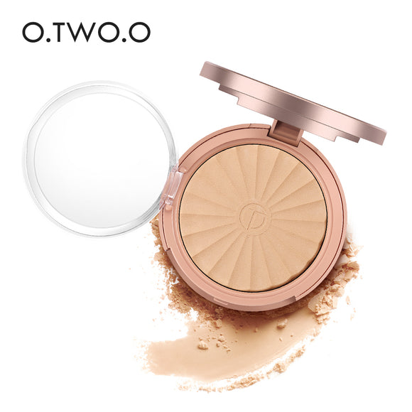 O.TWO.O 8 Colors Pressed Powder Faces Powder Brightening Long-lasting Waterproof Moisturizing Powder with Puff