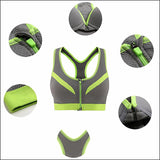 BINAND 2017 New Women Zipper Sports Bra Push Up Shockproof Top Underwear with Inner Pad Running Gym Fitness Jogging Yoga shirt